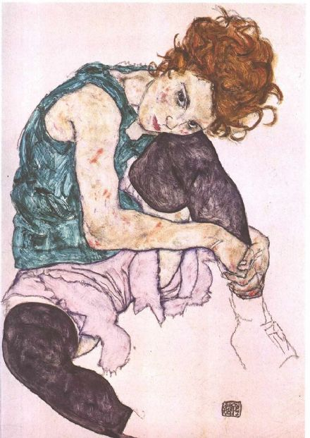 Schiele, Egon: Seated Woman with Bent Knee. Fine Art Print/Poster. Sizes: A4/A3/A2/A1 (003225)